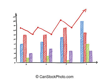 Colored finance business graph on a white background 3D...