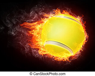 Tennis Ball on Fire. 2D Graphics. Computer Design.
