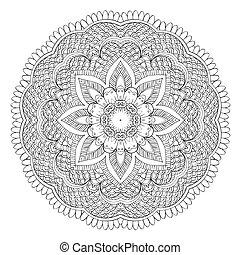 Abstract floral circular mandala. - Flower Mandala. Abstract...