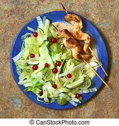 Fresh Salad with Chicken on Skewer - Fresh salad of...