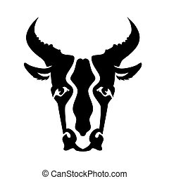 Bull Head Silhouette Isolated on White Background Bull Icon...