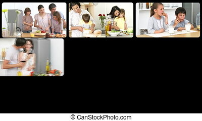Montage of caucasian families in the kitchen in HD