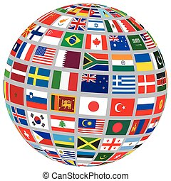 sphere with world flags isolated on white vector...