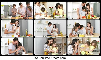 Montage of happy families in the kitchen in HD