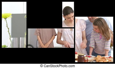 Animation of presenting 2 families in the kitchen in HD