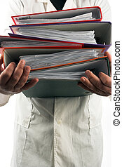 file folders - man holding a pile of file folders