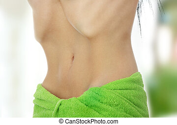 Anorexia - Belly of beautiful young female with anorexia...