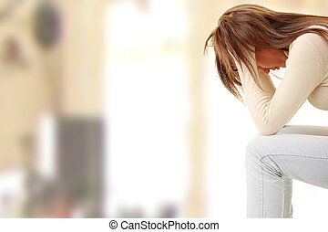 Teenage girl depression - lost love - isolated on white...