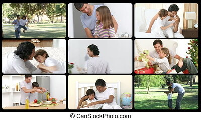 Animation of father enjoying moments in family in HD