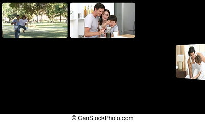 Stock animation of father having fun with his family in HD
