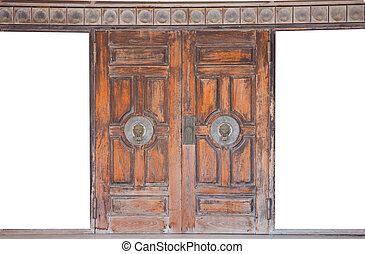 Old  knocker on the wooden door in Chinese style