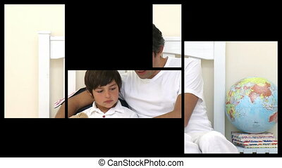 Stock animation of a man taking care of his family at home