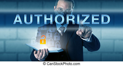 Business Person Touching AUTHORIZED - Business person is...