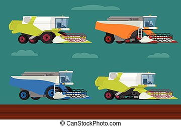 Vector set of agricultural modern combine harvesters collection.