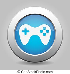 blue metal button with gamepad - blue metal button - with...