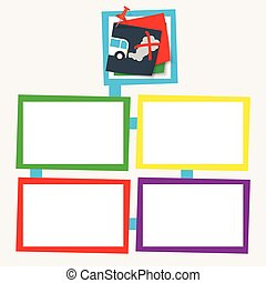 Four colored frames for your text with auto icon