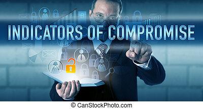 forense, indicadores, Empujar, compromiso, experto