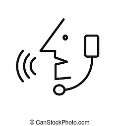Operator in headset - simple icon - Operator in headset,...