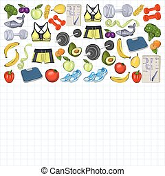 Healthy lifestyle icons Doodle style images