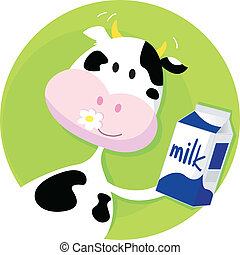 Happy cow with milk box on green