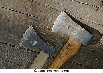 Axe hatchet - Two axes on a wooden surface