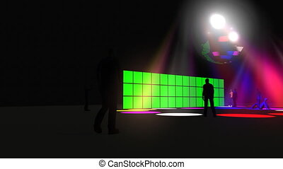 3D animation of a green screen with a disco ball in HD