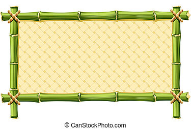 Bamboo Frame - Bamboo frame with Woven isolated on white