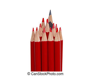 Black pencil standing out from the red pencils, isolated