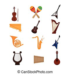 Musical instruments - Set of different musical instruments...