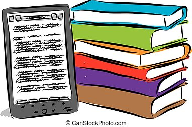electronic book and books illustration