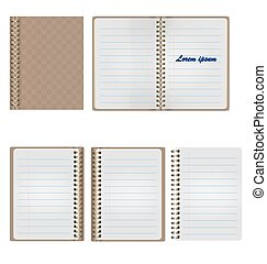 Set of Blank Realistic Spiral Notepad Notebook