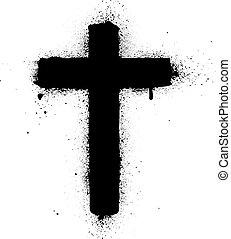 cruz, rociar, grafiti, tinta, vector, enfermo