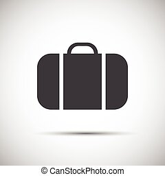 Simple grey suitcase icon , vector illustration for your...