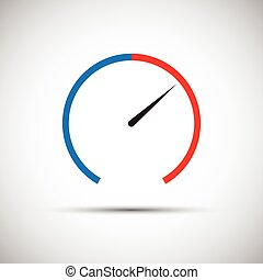 Simple thermometer icon, pointer indicates the red part, vector illustration