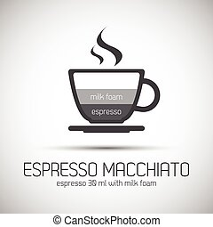 Cup of espresso macchiato, simple vector icons