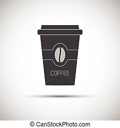 Simple icon paper cup of coffee with coffee bean, vector...
