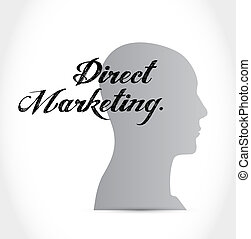 direct marketing thinking brain sign concept illustration...