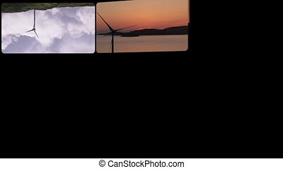 Montage footage presenting wind turbines in HD