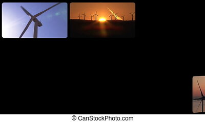 3D montage of the wind power in HD