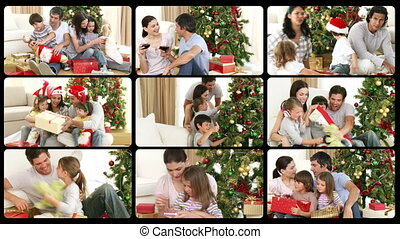 Animation presenting several families celebrating Christmas...