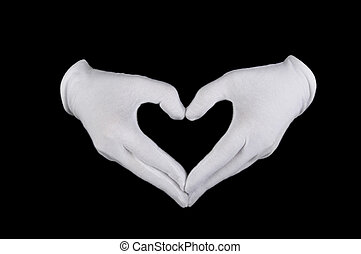 white glove - hands in white gloves in the form of heart