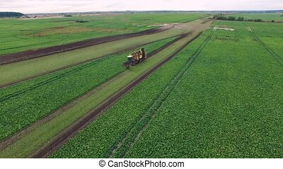 Drone flight aerial bird eye view of tractor blue sky in the...
