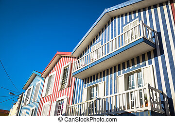 costa,  aveiro,  PORTUGAL, casas,  nova, coloridos