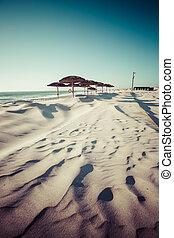 costa, Nova, praia, em, Aveiro, PORTUGAL,