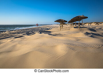 Costa Nova beach in Aveiro, Portugal