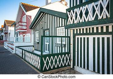 coloridos, casas, em, costa, Nova, Aveiro, PORTUGAL,