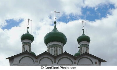 Green domes with crosses of Orthodox Church on the...