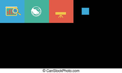 Business and Startup Flat Icons Set. 4K. Alpha Channel