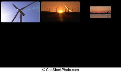 3D montage presenting the concept of wind power in HD