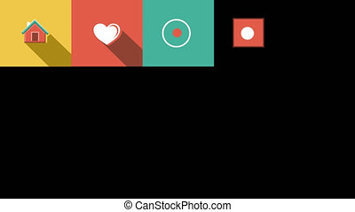 Internet and Web Flat Icons Set. 4K. Alpha Channel -...